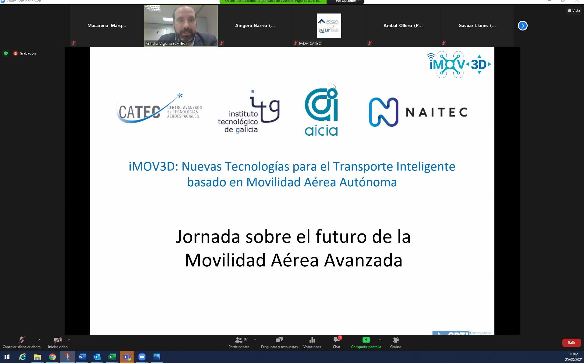 La agrupación iMOV3D presenta los últimos avances en el desarrollo de soluciones de movilidad aérea avanzada
